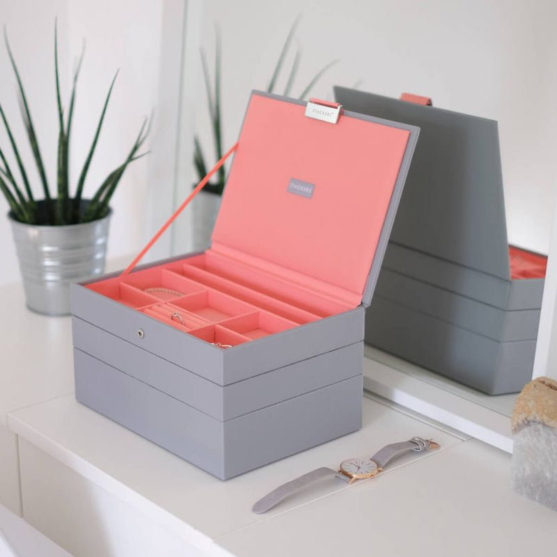 Jewellery Box with Lid Medium - Grey Coral