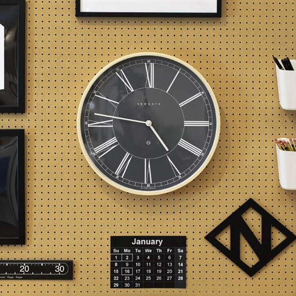 Mr Architect Wall Clock - Black with Light Plywood