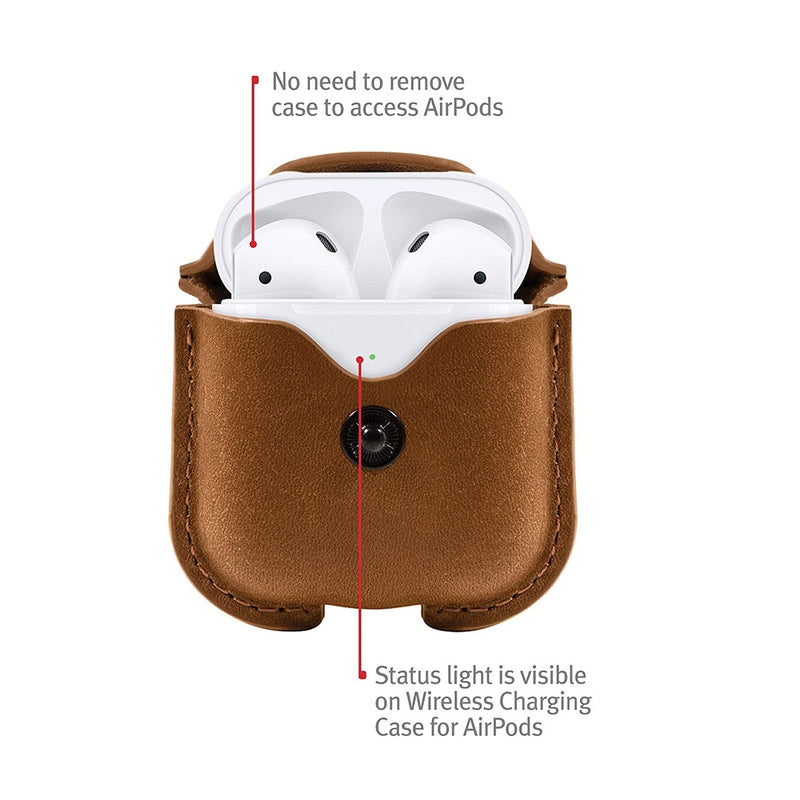 AirSnap Leather Case for Airpods - Cognac