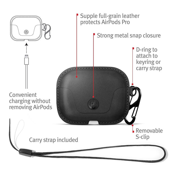 AirSnap Leather Case for Airpods Pro - Black