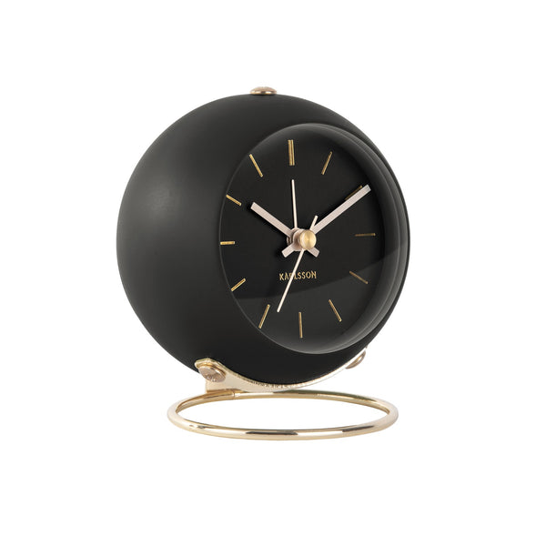 Globe Alarm Clock - Black Gold