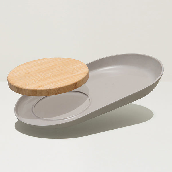 Oval Plate with Bamboo Cutting Board
