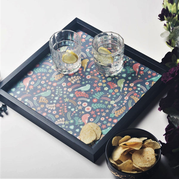 Patterned Square Tray - Birdies