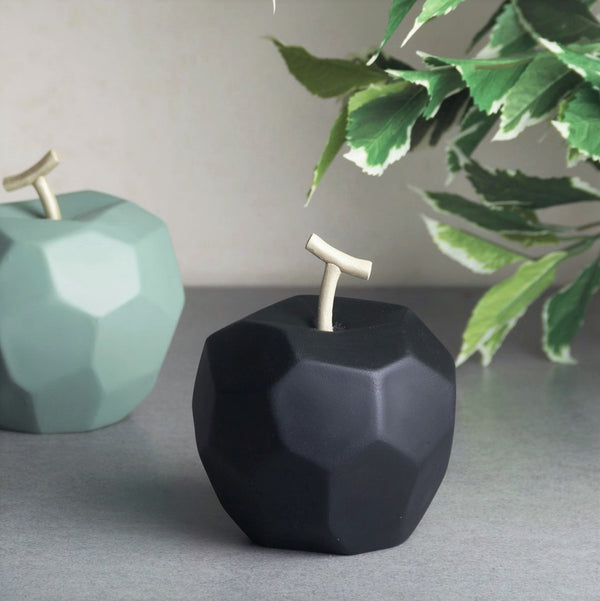Origami Faceted Apple - Matte Black