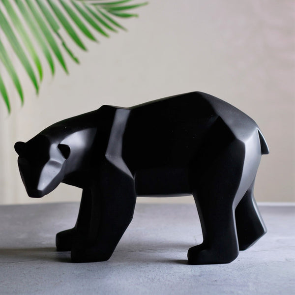 Bear Faceted Sculpture - Black