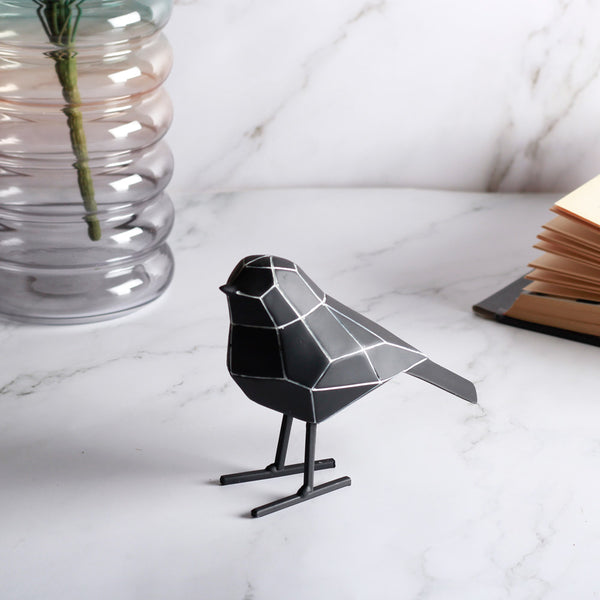 Bird Faceted Sculpture, Small - Black with White Stripes
