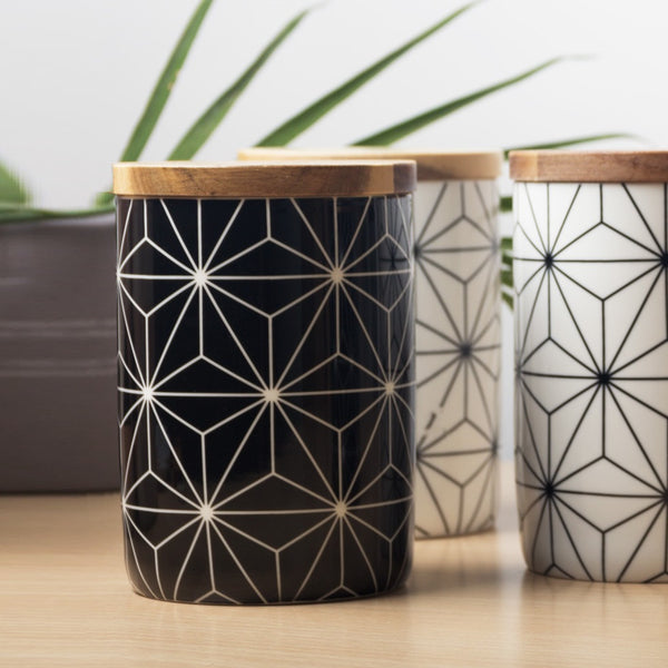 Patterned Storage Jar with Lid - Geometric Black