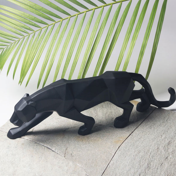 Panther Faceted Sculpture - Black