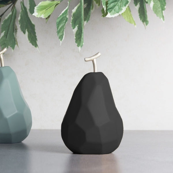Origami Faceted Pear - Matte Black
