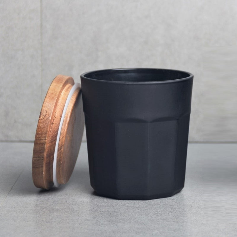 Glass Storage Jar with Lid - Matte Black