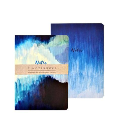 Blue Abstract Print Set of 2 Notebooks
