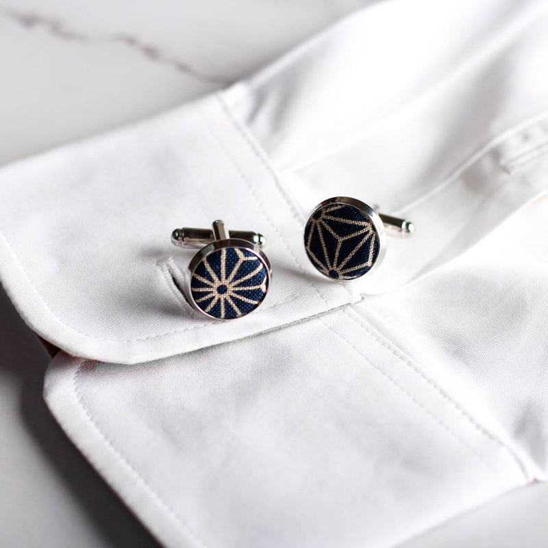 Navy Blue Asanoha Cufflinks