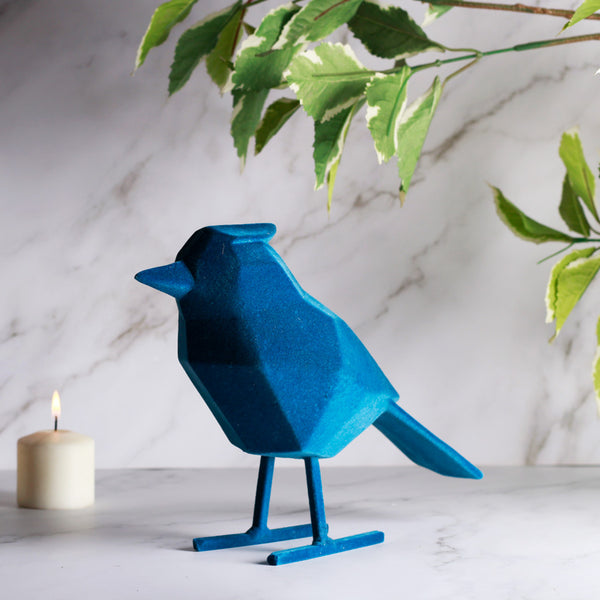 Bird Faceted Sculpture, Large - Flocked Blue
