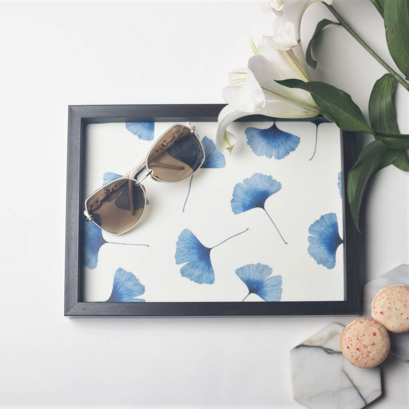 Patterned Desk Tray - Blue Leaf