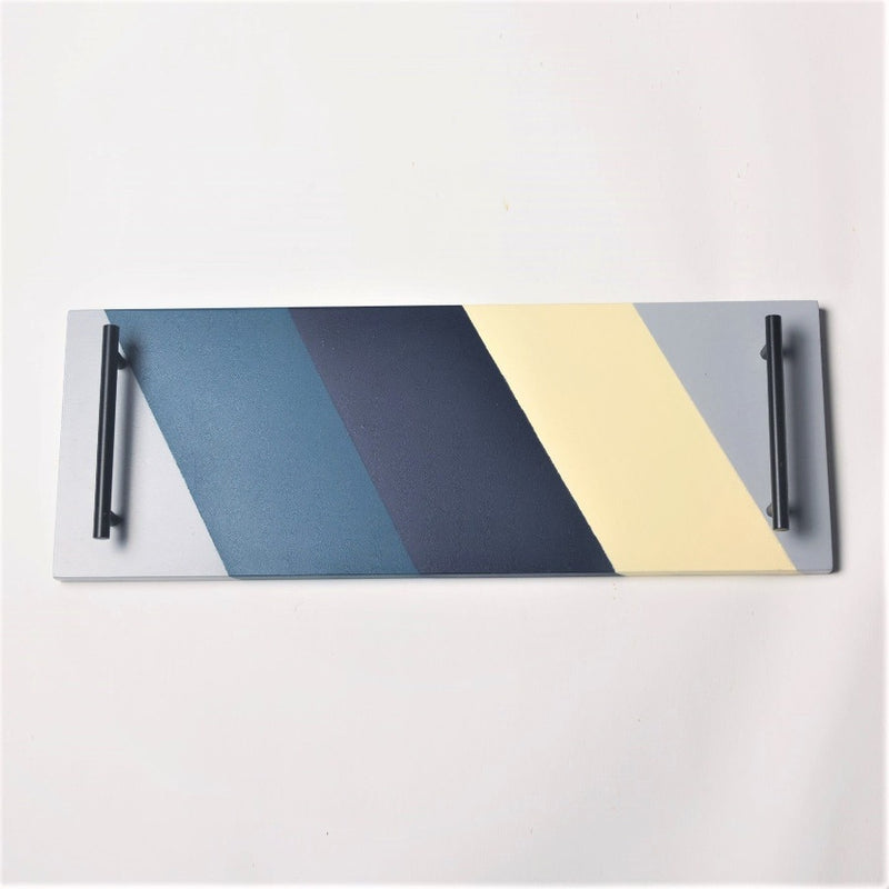 Patterned Long Tray -  Blue Yellow