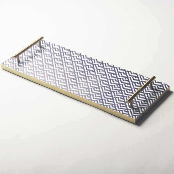 Patterned Long Tray - Blue Thread