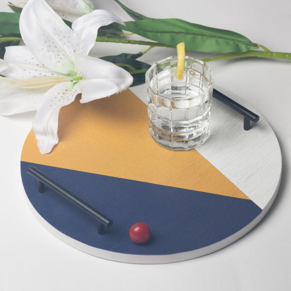 Patterned Round Tray - Blue Yellow