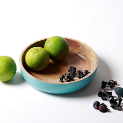 Wooden Serving Bowl - Turquoise