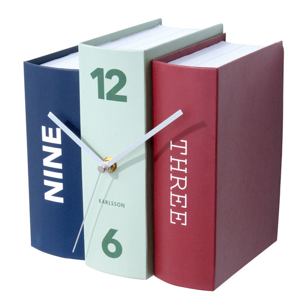 Books Table Clock - Red Green Blue