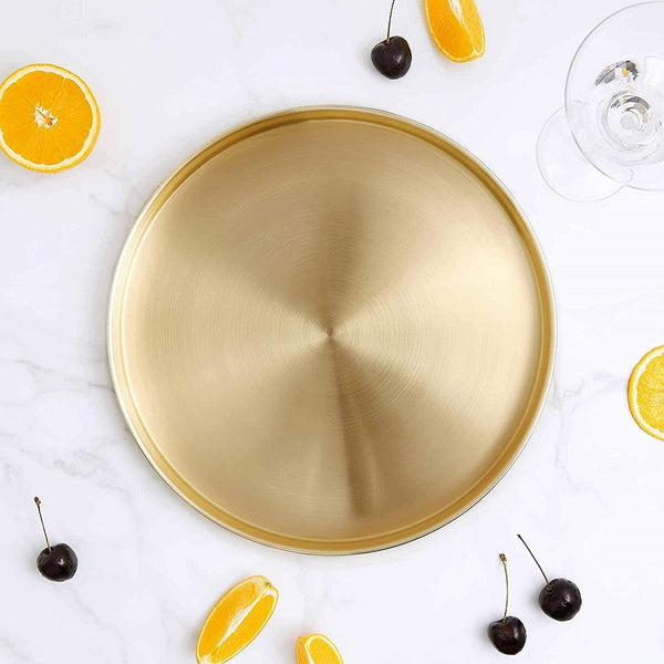Metallic Round Drinks Tray - Gold