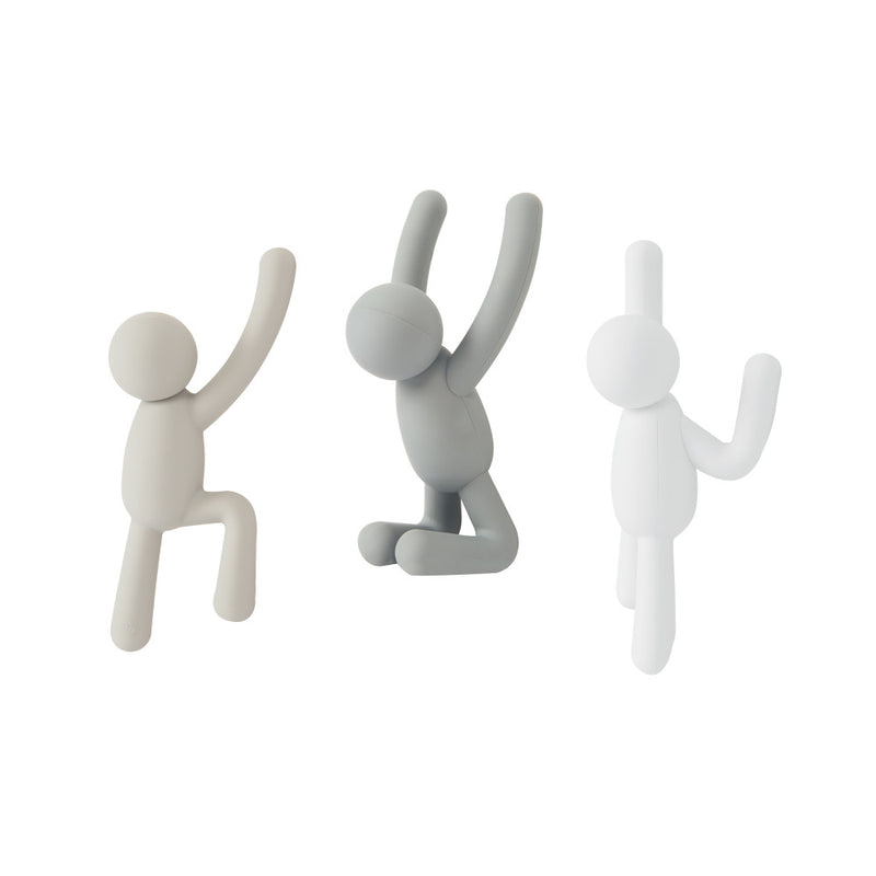 Buddy Hooks, Set of 3 - Assorted Grey