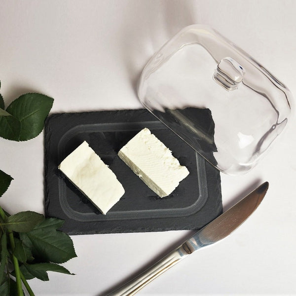 Slate & Glass Butter Dish