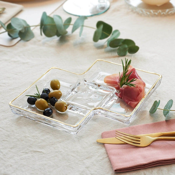 Sezione Square Serving Platter With Gold Rim