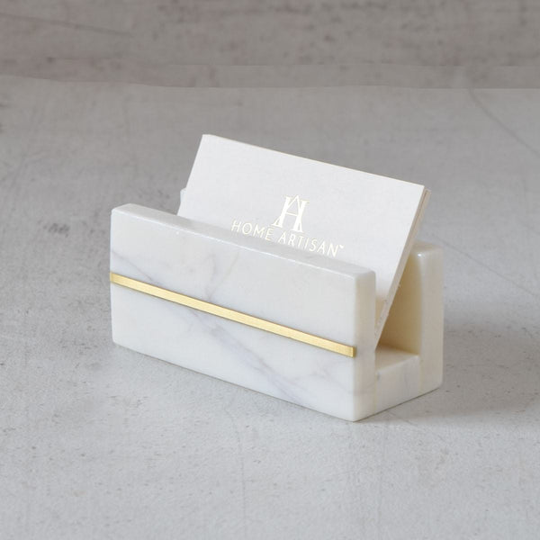 Marble Visiting Card Holder with Brass Inlay