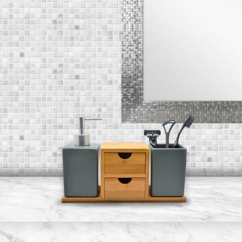 Ceramic and Bamboo Bathroom Set - Charcoal