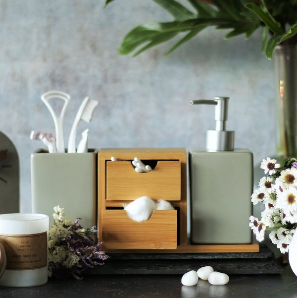 Ceramic and Bamboo Bathroom Set - Grey
