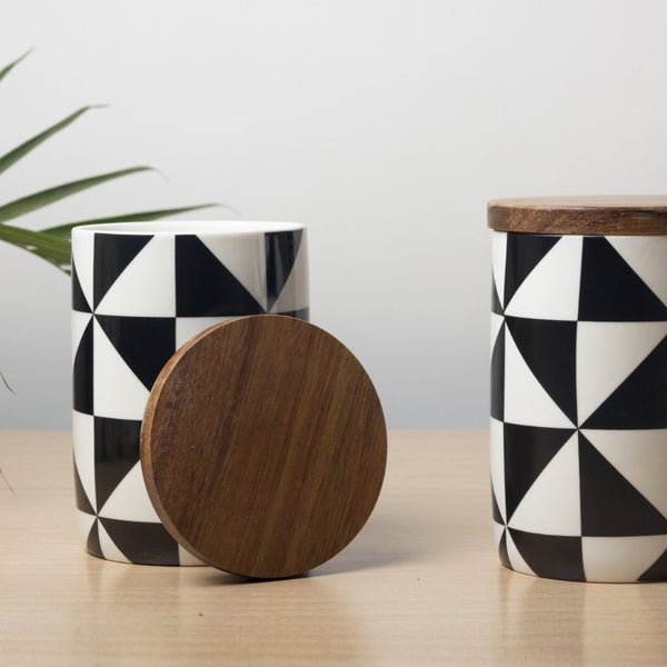 Patterned Storage Jar with Lid - Checkers