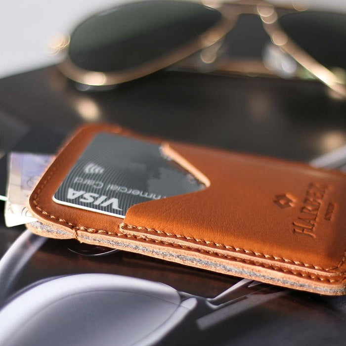 Classic 3 Pocket Card Holder - Tan
