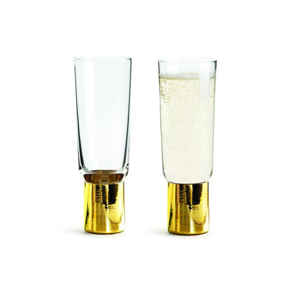 Club Gold Champagne Glasses, Set of 2