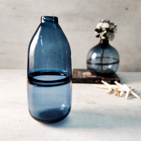 Colin Blue Glass Vase - Tall