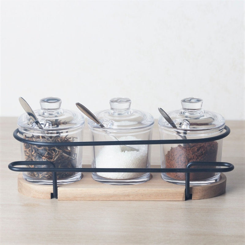 Trio Glass Condiment Jars Set