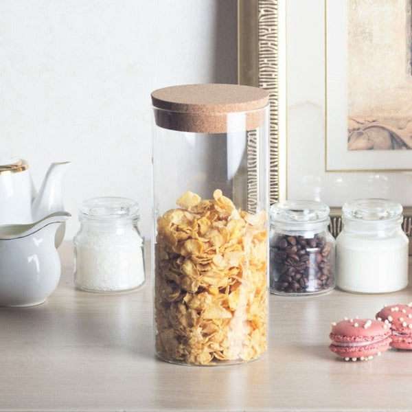 Glass Storage Jar with Cork Lid - Tall