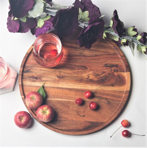 Creek Wooden Round Platter Medium