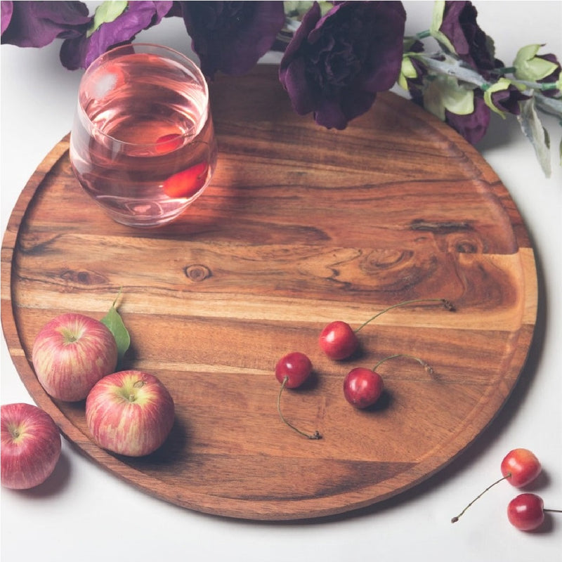 Creek Wooden Round Platter Large