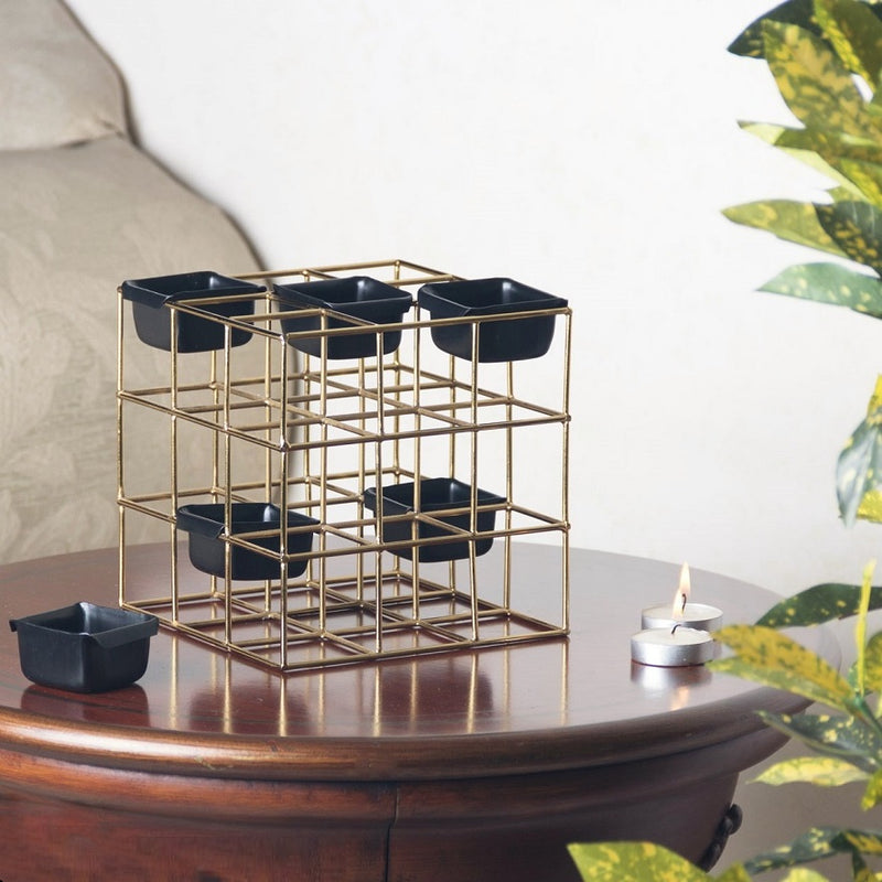 Cuboid Multi Tealight Holder - Black Gold