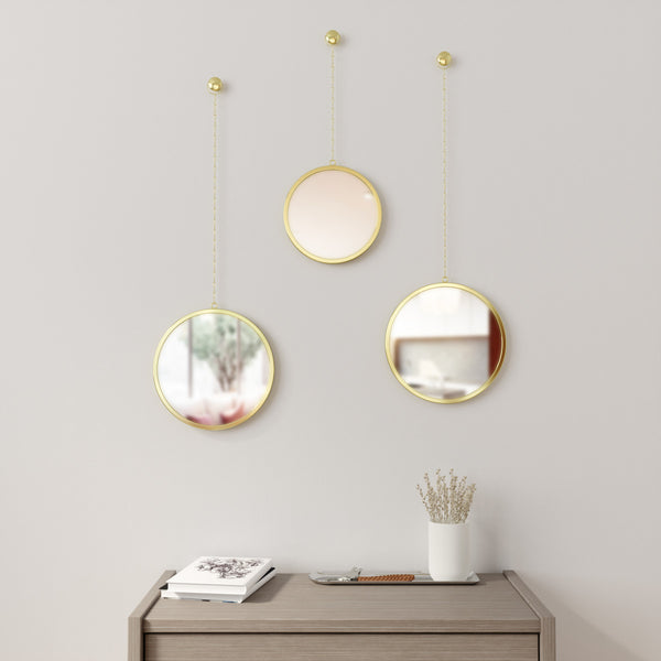 Dima Round Mirrors, Set of 3 - Brass