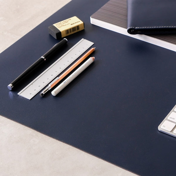 Leather Desk Mat Large - Deep Sea Blue