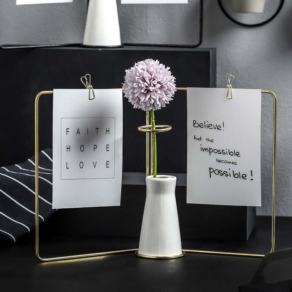 Messenger Vase with Double Photoholder - Gold