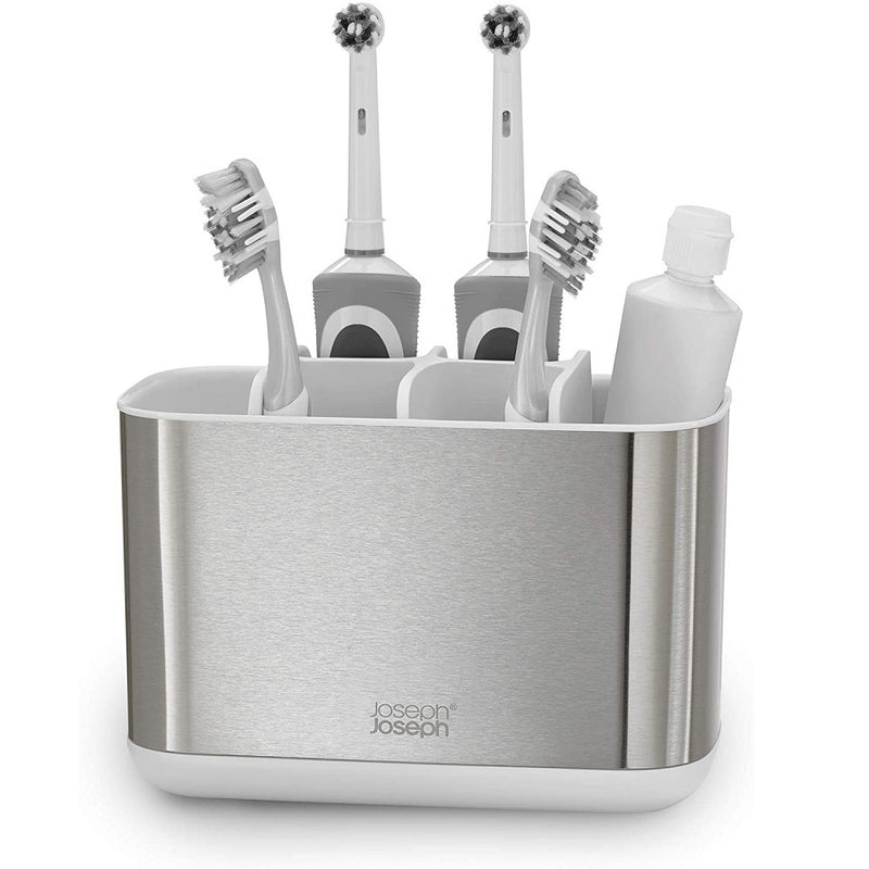 Easy Store Toothbrush Caddy Large - White Steel