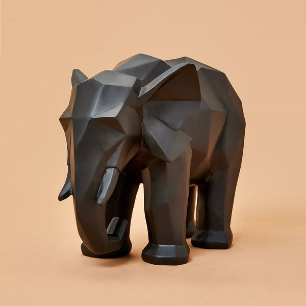 Elephant Faceted Sculpture - Black