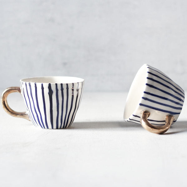 Ella Blue Striped Handmade Ceramic Cup