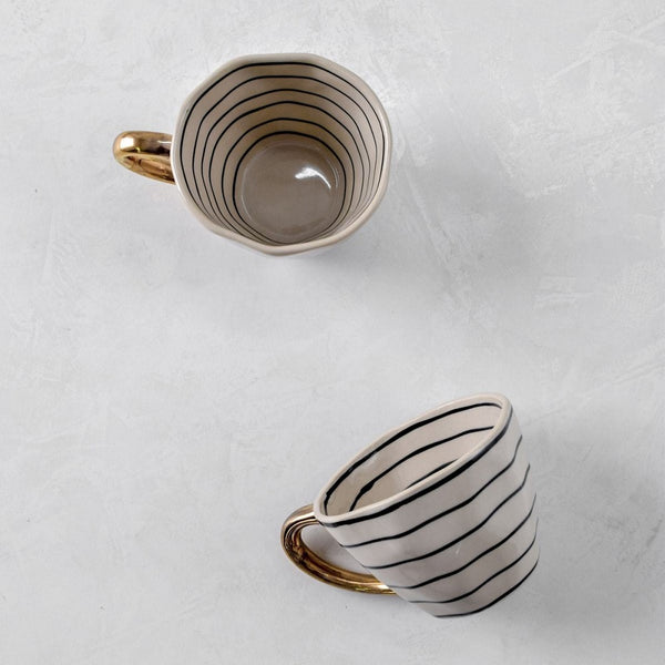 Esmee Striped Handmade Ceramic Cups, Set of 2