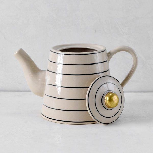 Esmee Black Stripes Ceramic Teapot