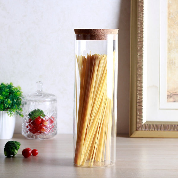 Glass Storage Jar with Cork Lid - Extra Tall