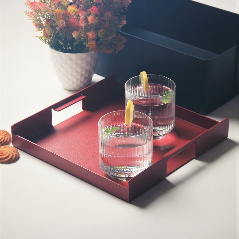 Flint Serving Tray, Small - Brick Red