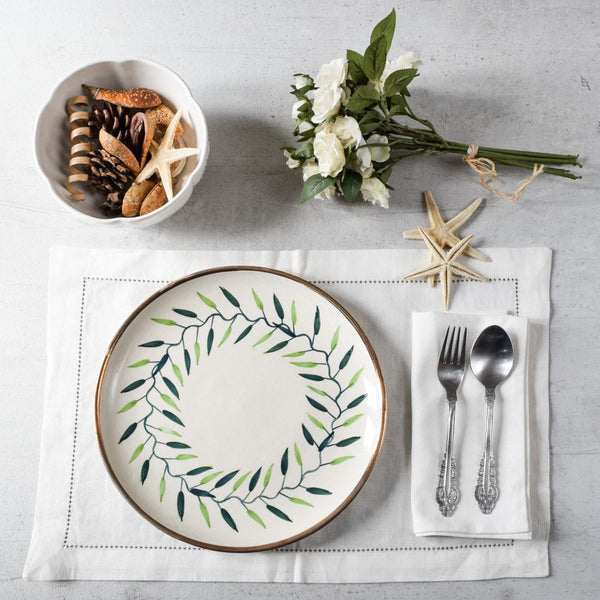 Emma Green Foliage Ceramic Dinner Plates, Set of 2